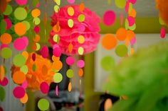 Pink, lime, and orange DIY decorations. love love loveeee these colors!!!! baby girl shower