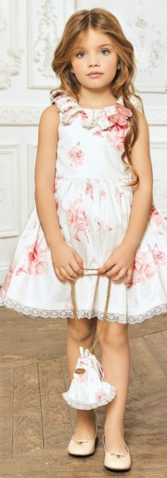 JUNONA Girls Designer White Satin Party Dress & Bag from the Spring Summer 2018 Collection. Love this ivory lace dress decorated with beautiful red floral appliqué with pearl centres. Perfect vintage style party dress for a little princess at any special occasion or wedding. Pretty Style for for stylish kid, tween and teen girls. #kidsfashion #fashionkids #girlsdresses #childrensclothing #girlsclothes #girlsclothing #girlsfashion #cute #girl #kids #fashion #flowergirl