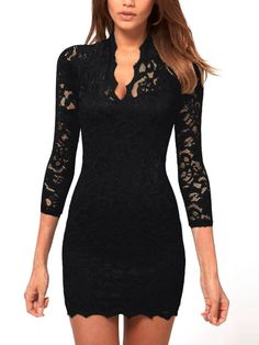 Black Lace ¾ Sleeve Dress - Fashion Effect Store  - 1