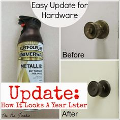 Spray Painted Door Knobs spray paint knobs for file cabinet Rust-Oleum Universal paint and primer - oil rubbed bronze. Paint Door Knobs, Interior Door Knobs, Interior Barn Doors, Interior Paint, Painting Interior Doors, Diy Door Knobs, Bronze Door Knobs, Interior Shop, Interior Design