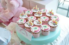 Take a look at the adorable cupcakes  at this Unicorn Baptism! See more party ideas and share yours at CatchMyParty.com #catchmyparty #partyideas #unicornparty  #unicorncupcakes