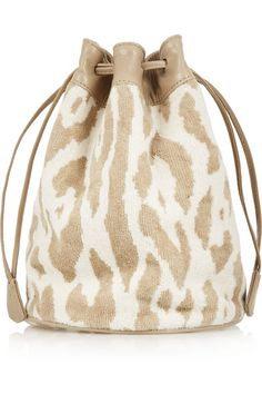 bc0448f023f Finds + Maslin  amp  Co Leather-Trimmed Cotton-Terry Bucket Bag Designer  Bags