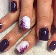 Dark Purple and White Design for Short Nails.: