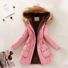 Thickening Warm Fur Collar Coat