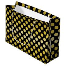 Gold Yellow Polka Dot Large Gift Bag   	$10.95 Playful yellow-gold dots tiled on every side. Shown with a black background. Customization optional - Artwork and design by Karlajkitty