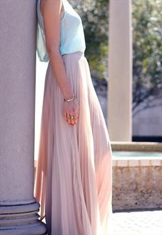Pleated Chiffon Nude Maxi Skirt  This looks comfortable and light weight for our Georgia hot summers