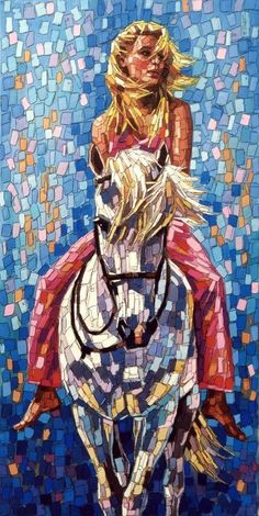 Art community for paintings & drawings only, created by Eren Mckay for those who love art. Mosaic Tile Art, Mosaic Artwork, Mosaic Glass, Glass Art, Mosaic Designs, Mosaic Patterns, Horse Quilt, Mosaic Portrait, Animal Quilts