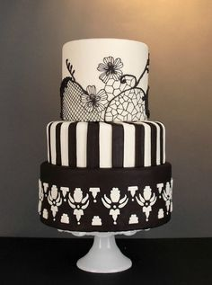 4 fabulous wedding cakes you will love Black White Cakes, Black And White Wedding Cake, White Wedding Cakes, Beautiful Wedding Cakes, Gorgeous Cakes, Pretty Cakes, Cute Cakes, Amazing Cakes, Black Tie