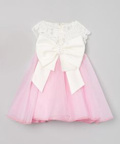 Take a look at this Pink & Ivory Oversize Bow Dress - Toddler on zulily today!