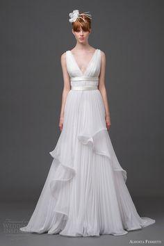 alberta ferretti bridal 2015 sleeveless pleated wedding dress vega
