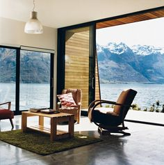 Nature Nurtured - Photo 10 of 11 - The main living area. The home is flanked on the east by a precipitous mountain range named The Remarkables. In summer, the weather gets hot enough for the family to go swimming and boating.