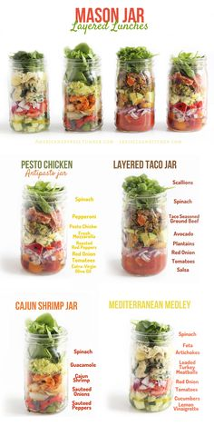Mason Jar Layered Lunches ~ Cajun Shrimp Jar, Layered Taco Jar, Pesto Chicken Antipasto Jar, Mediterranean Medley