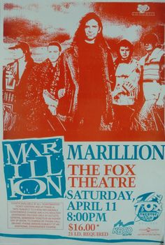 Marillion. Rock Posters, Music Posters, Concert Posters, Psychedelic Bands, Event Posters, In Another Life, Call Art, Progressive Rock, Concert Tickets