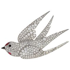 French 1930's Art Deco Ruby Diamond Platinum Dove Brooch   From a unique collection of vintage brooches at https://mario.1stdibs.com/jewelry/brooches/brooches/