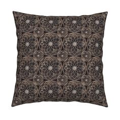 Catalan Throw Pillow featuring MANDALA FLOWER Small BROWN AND WHITE EARTH TONES by paysmage | Roostery Home Decor