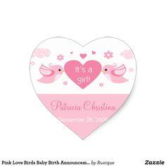 Pink Love Birds Baby Birth Announcement Classic Round Sticker #Pink #Love #Birds #Baby #Birth #Announcement #Classic #Round #Sticker