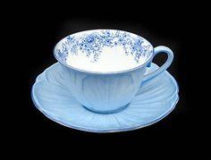 Rare Shelley Blue Oleander Rose Garland Teacup Cup & Saucer 13351