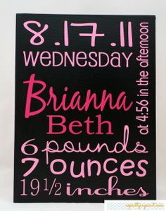 Birth Stats / Statistics. Birth Information Details. Birth Stats canvas in black & pink.