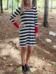 White Striped Contrast Cuff Tshirt Dress -SheIn(Sheinside)