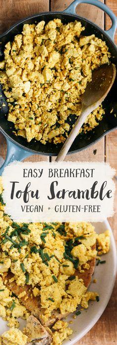 Tofu Recipes, Healthy Dinner Recipes, Vegetarian Recipes, Cooking Recipes, Vegan Meals, Tofu Breakfast, Healthy Vegan Breakfast, Breakfast Ideas, Clean Eating Meals