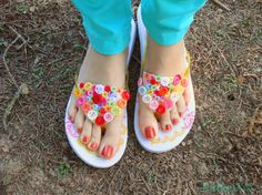 decorate cheap Flip Flops. These are decorated with buttons but we could use anything