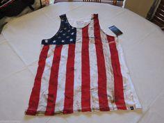 Hurley FLAG US USA America 2 Tank top shirt MTTTAMRD Men's Medium M premium fit #Hurley #Tank