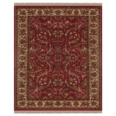 "Grand Bazaar Hand-knotted 100-percent Pile Edmonton Rug in Red/ 5'-6"" x 8'-6"""