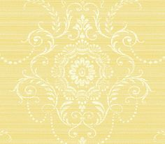 Light Yellow Large Damask Wallpaper By Wallquest