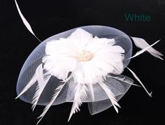 Multiple color select crinoline fascinator with feather flower bridal veil fashion as wedding headwear party hair accessories