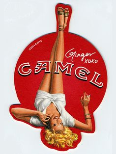 Hoodoo That Voodoo, Pinup art drink coaster from Camel Cigarettes.