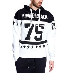 Sweat capuche molleton 'Rivaldi' noir/blanc Homme