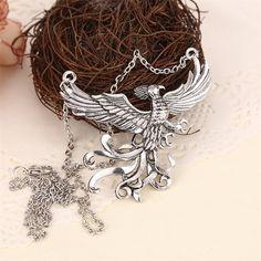 Phoenix necklace vintage antique silver pendant jewelry for men and women wholesale