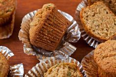 Make classic zucchini quick bread using warm spices cinnamon and nutmeg. Chowhound's simple, five-step recipe packs in fresh zucchini and yields a fresh, savory. Zucchini Muffins, Muffins Blueberry, Zucchini Desserts, Zucchini Muffin Recipes, Almond Muffins, Carrot Muffins, Healthy Zucchini, Veggie Recipes, Easy Recipes