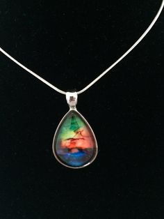 Unique Silver Necklace Of Rainbow Colors - Perfect Gift! by MyArtYouWearJewelry on Etsy