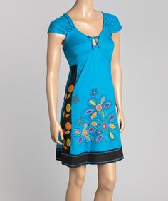 Another great find on #zulily! Turquoise & Black Floral Keyhole Cap-Sleeve Dress #zulilyfinds
