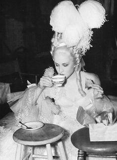 Norma Shearer on the set of Marie Antoinette (1938)                                                                                                                                                                                 More