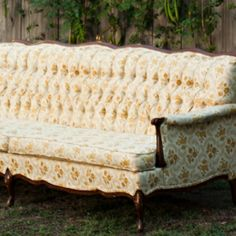 Yellow Sunshine Vintage Couch Wedding Lounge. Vintage Prop Rentals & Styling Houston Texas. via A Style Collective. #astylecollective www.astylecollective.com