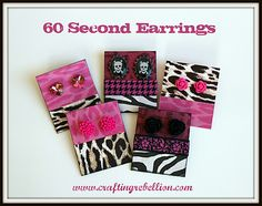 60 second earrings - plus how to make the earring card.
