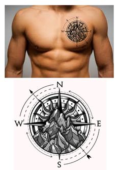 Compass Mountain Chest Tattoo Design. Designer: Andrija Protic  On shoulder, as part of tribal quarter sleeve