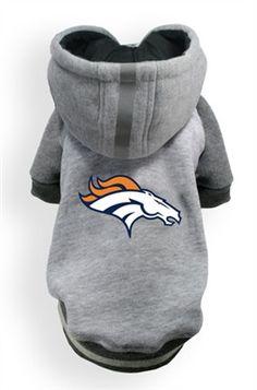 Denver BRONCOS NFL dog Helmet Hoodie in color Athletic Gray