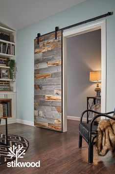 Stikit barn doors by Stikwood are made with our original reclaimed peel and stick wood. These interior sliding barn doors are a simple and easy-to-assemble DIY project. You'll love building these simple and functional barn door designs. Barn Door Decor, Wood Barn Door, Peel And Stick Wood, Sliding Pocket Doors, Barn Door Designs, Interior Sliding Barn Doors, Weathered Wood, Wood Wall, Diy Home Decor