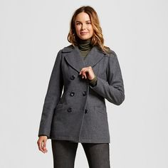 Women's Wool Blend Peacoat - Merona™ : Target Size: Small Color: Heather Gray (Use code COLD for 25% off)