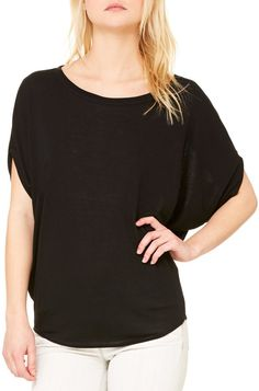 1c0ece57ee82f5 bella+canvas ladies  flowy circle top - black (s) Bella Canvas