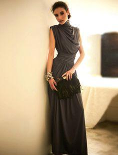 Beautiful Gray Chiffon A Line Retro Style Prom Dresses