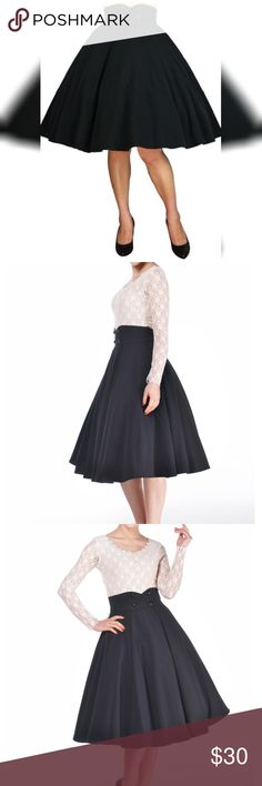 """Chic Star Rockabilly Swing Skirt Black Plus 22 This Rockabilly Swing Skirt features with a high curved and buttoned waistband. There are four decorative buttons in front and two functional buttons in back of the waistband. Center back zip. The petticoat is not included. Size 22  Waist:42-43"""" Hips: Free Length:29.5""""  MATERIAL: 63% POLYESTER 33% RAYON 4% SPANDEX CARE: MACHINE WASH WASH SEPARATELY DO NOT BLEACH WARM IRON DO NOT TUMBLE DRY  Please note that I have cats and heat my house with…"""
