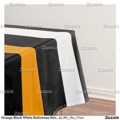 Orange Black White Halloween Stripes Tablecloth