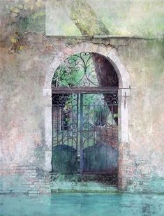 Angel Busca - altered photo or painting? Art Et Architecture, Watercolor Architecture, Watercolor Landscape, Watercolor Paintings, Watercolours, Anime Comics, Watercolor Pictures, Spanish Artists, Encaustic Painting