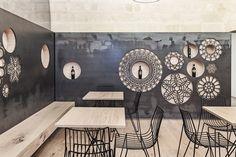 Marina e Alfredo Manca, Pierangelo Laterza · Ridola caffè Restaurant Lounge, Restaurant Design, Italian Cafe, Drawing Room Interior, Contemporary Wall Decor, Decorative Panels, Texture Design, Coffee Shop, Living Room Decor