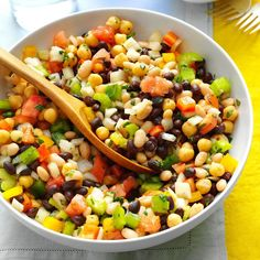Marinated Three Bean Salad Recipe -Fresh herbs and cayenne pepper provide the fantastic flavor in this marinated salad featuring fresh veggies and canned beans. —Carol Tucker, Wooster, Ohio