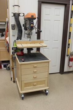 Drill Press Storage Unit Table Fence